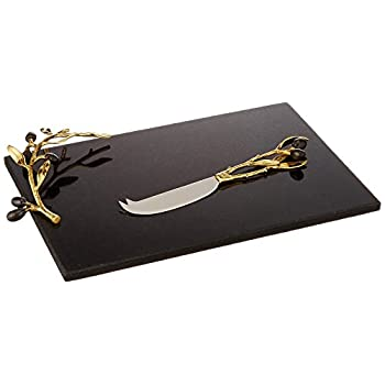 Image of Home and Kitchen Michael Aram Olive Branch Gold Cheese board with Knife