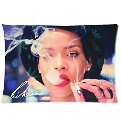 Smoking Rihanna Custom Cotton & Polyester Soft Rectangle Pillow Case Cover 20x26(Two Sides)