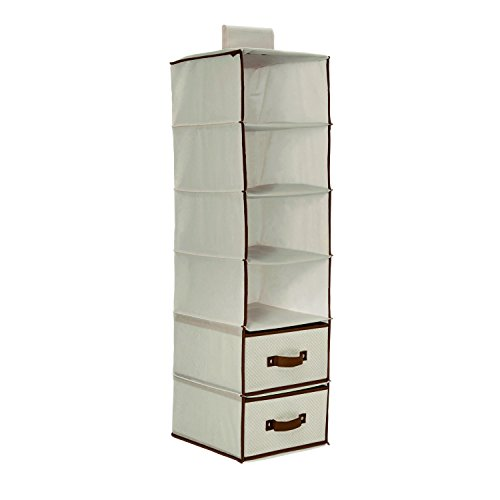 6 Shelf Storage with 2 Drawers, Beige