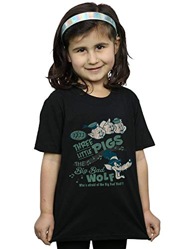 Disney Girls Three Little Pigs Who's Afraid of The Big Bad Wolf T-Shirt Black 5-6 Years