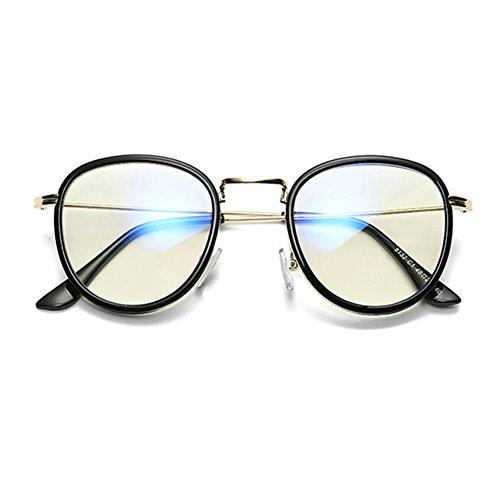métal verres bleus en design Mode Black anti force de sans optiques décontracté Inlefen de lunettes Cadre wqH5484TW