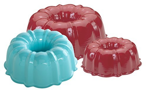 Set of 3 Nordic Ware Cake Formed Bundt Pans - 12 , 6, 3 Cup in Assorted Colors by Nordic Ware