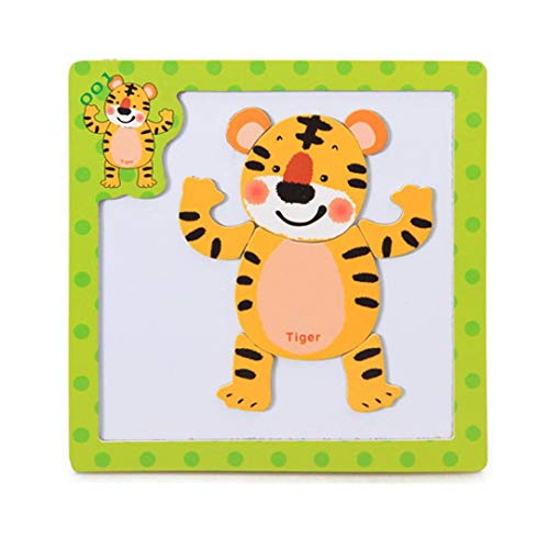 Roysberry Toys - Wooden Educational Magnetic Preschool Tiger 3D Puzzle Shape Color Recognition Stereoscopic Alphabet Puzzle Toys - Birthday Gift Toy Jigsaw Puzzles for (Tigers Musical Globe)