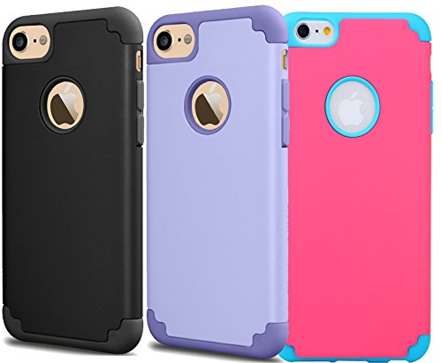 [3Pack]iPhone 6 Plus Case,iPhone 6s Plus Case,iBarbe slim fit Rubber+PC Shockproof Heavy Duty Protection Case with soft Inner +Hard Bumper for iPhone 6 6s Plus (5.5 inch) phone-purple+black+red