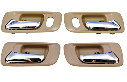 PT Auto Warehouse HO-2580ME-QP - Inside Interior Inner Door Handle, Beige/Tan, Chrome Lever - 1 Front Left, 1 Front Right, 1 Rear Left, 1 Rear Right