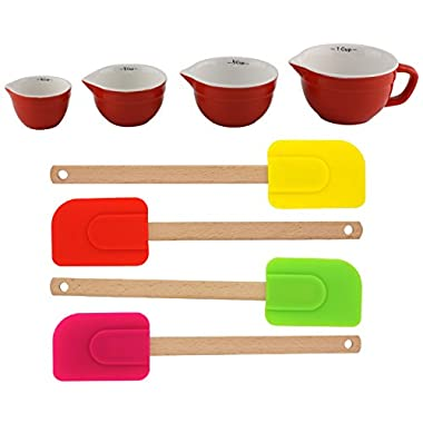 Top Home Kitchen Ceramic Red Measuring Cups & Spatulas Set Unique Gift Gift Set for Mom Sister in Law Grandmother Grandma