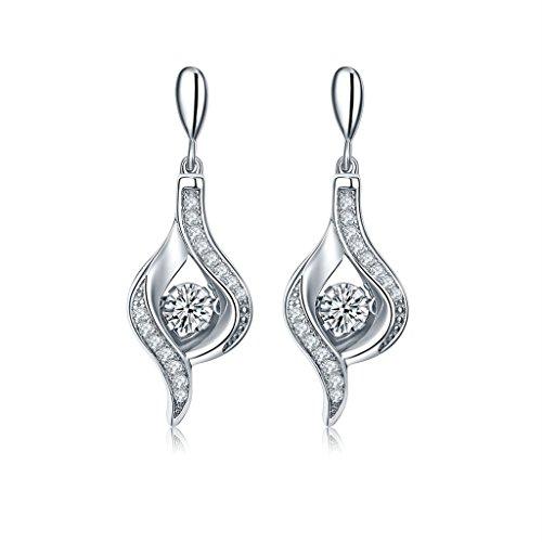 YL danse Diamant en argent sterling 9251.42carats 6mm CZ Boucles d'oreilles pendantes