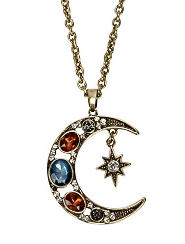 (SPUNKYsoul Boho Antique Gold Tribal Crescent Moon Faceted Crystal Long Necklace for Women Collection)