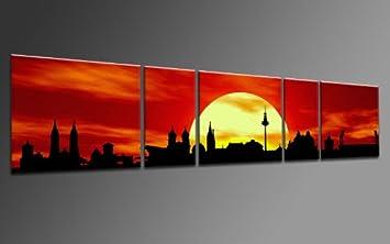 TOP Bild Auf Leinwand CITY PANORAMA STIL NRNBERG SUN ROT 5 TEILE DIGITAL Arts AP500194 Bilder