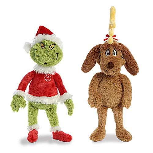 "Aurora World Plush Bundle of 2, 18"" Grinch Santa, & 18"" Max with Antler, Multicolor"