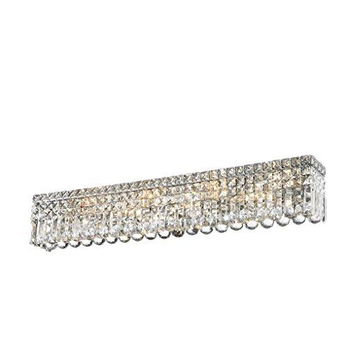 - Worldwide Lighting W23532C36 Cascade 8 Light Crystal Vanity Light, Chrome Finish, ADA Compliant, 36