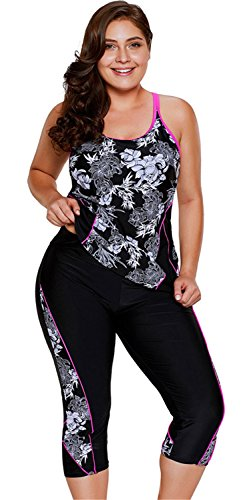 2 PC Sleeveless Floral Padded Tankini Tank Top and Cropped Pants Bottom Wetsuit Swimsuit Set Black - Sizing Chart Wetsuit