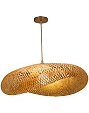 homozy Candelabro de Bambu Vintage Luz de Teto Luminárias de Vime Bar Restaurante