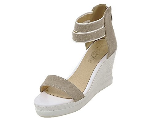 Toe EGHLH006680 Heels Sandals Women's Open Gray Solid High Zipper Frosted WeiPoot wq1SWtcWP