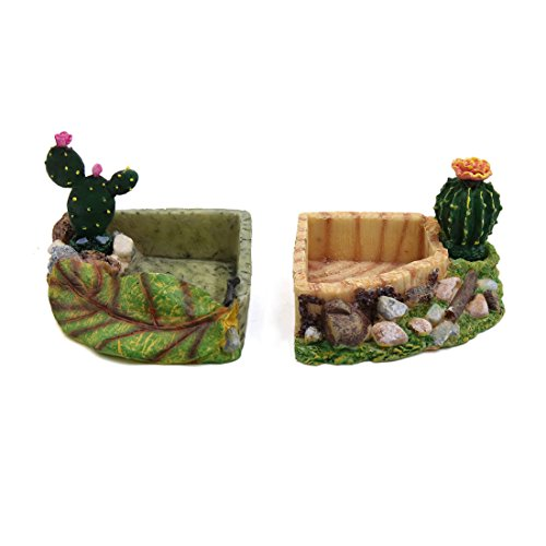 (uxcell 2pcs Resin Corner Bowl Reptiles Feeding Water Food Dish Terrarium Decoration)