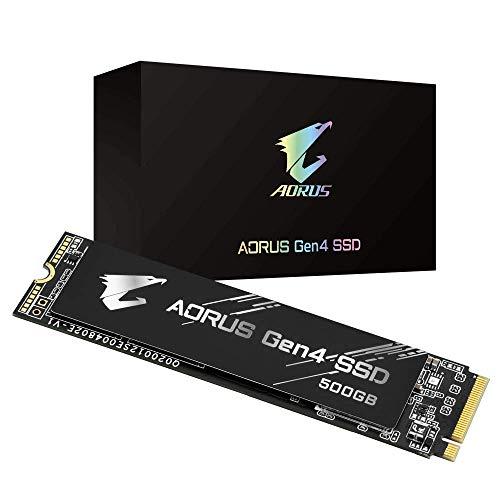 Gigabyte AORUS Nvme Gen4 M.2 500GB PCI-Express 4.0 Interface High Performance Gaming, 3D TLC NAND Flash, External DDR Cache Buffer, SSD GP-AG4500G