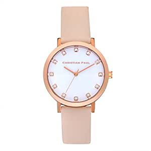 Christian Paul SWL-02 Men's Stainless Steel Pink Leather Band White Dial Watch