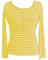 Women's Button Round Neck Long Sleeve XXS Yellow