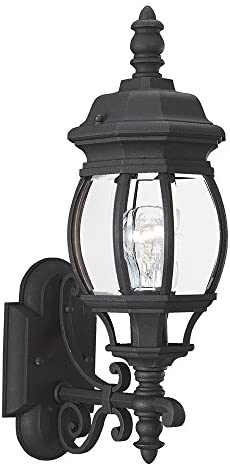 Sea Gull Lighting 88200-12 Wynfield One-Light Outdoor Wall Lantern with Clear Beveled Glass Panels, Black Finish