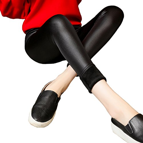 Womtop Women Leggings Pants Winter Warm Velvet Faux Leather Stretch Junior Outwear Trousers (Black(2), (Black Velvet Trousers)