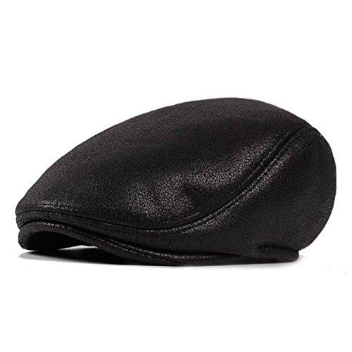 AET Cap PU Leather Berets With Fleece Inside Winter Newsboy Caps For Men