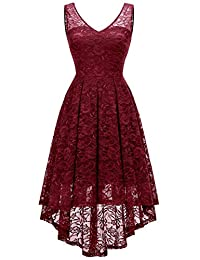 MODECRUSH Womens High Low Floral Lace Cocktail Party Prom Midi Dress
