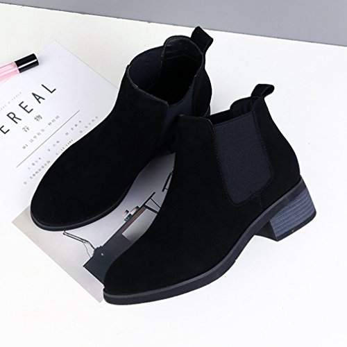 Carré Smat Noir Plus Chelsea Bottine Dépoli Chaussure Botte Femme Véritable Talon Élastique Style Courte Cuir Jrenok FY4gqTRwF