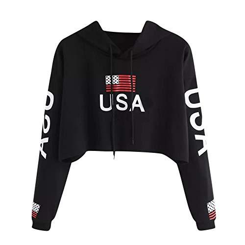 Sunhusing Women's USA Flag Printing Blouse Tops Fashion Casual Short Drawstring Hoodie