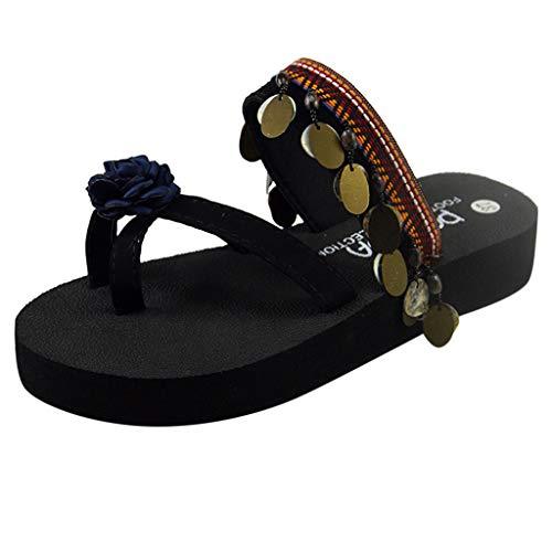 - AOJIAN Shoes Women's Sandals Sequin Floral Flip Flop Slide Slipper Clog Mule Blue