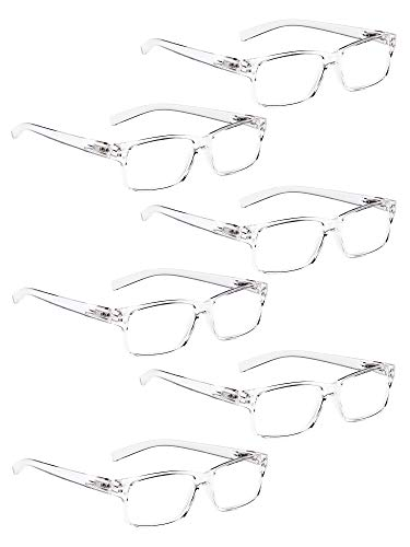 Clear Reading Glasses - READING GLASSES 6 Pack Spring Hinge Comfort Plastic Readers (Clear, 2.50)