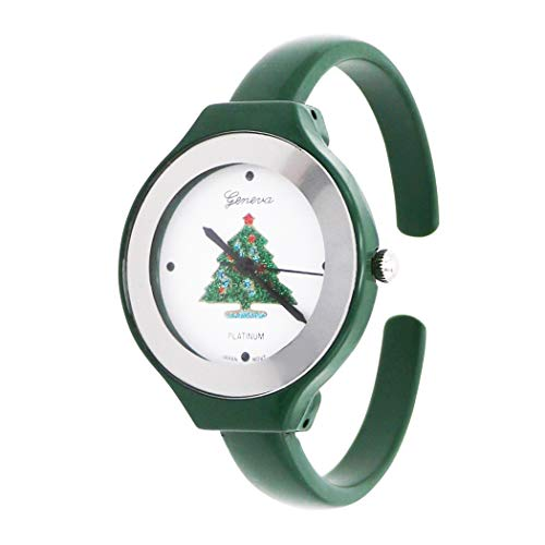 Rosemarie Collections Women's Green Enamel Holiday Christmas Tree Cuff Watch Bracelet (Christmas Watch Cuff)