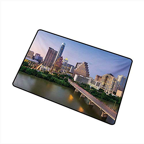 Waterproof Door mat Modern Austin Texas American City Bridge Over The Lake Skyscrapers USA Downtown Picture W35 xL47 with Anti-Slip Support ()