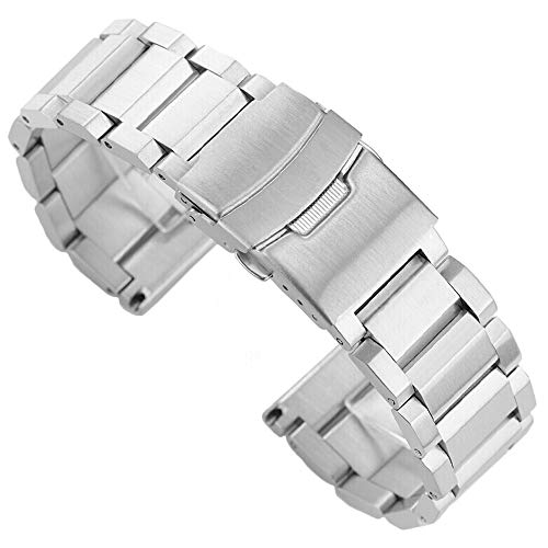 Solid Stainless Steel Watch Strap Metal Band Bracelet 18mm with Double Push Button Buckle - Silver