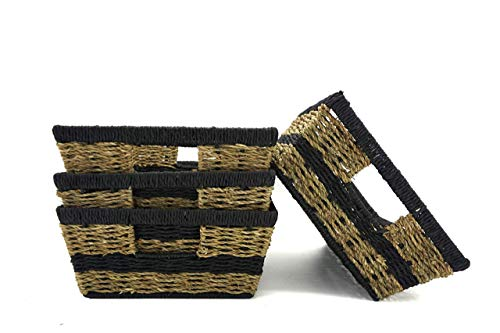 Handcrafted4Home GLNY1002 4-Pack Wicker Storage Baskets Set with Handle for Shelves, Cloths, Toy Organizer in Bedroom, Living Room, Kid's Room, Cubby, Closet, ()