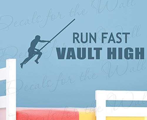 Decals for Run Fast Vault High Boy Girl Themed Kid Room Playroom Wall Decal Decor Lettering Vinyl Quote Sticker Graphic Art Letters Decoration MTX14 ()