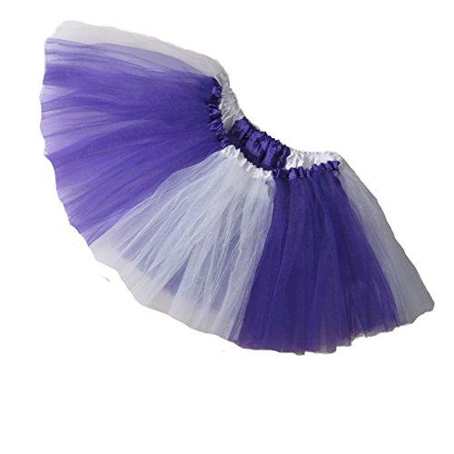 Southern Wrag Company ADULT TEAM SPIRIT Tutu PURPLE WHITE Sizes S-XXL (XXL:TUTU WAIST 38-70) (Adult Plus Size Kansas Girl Costume)