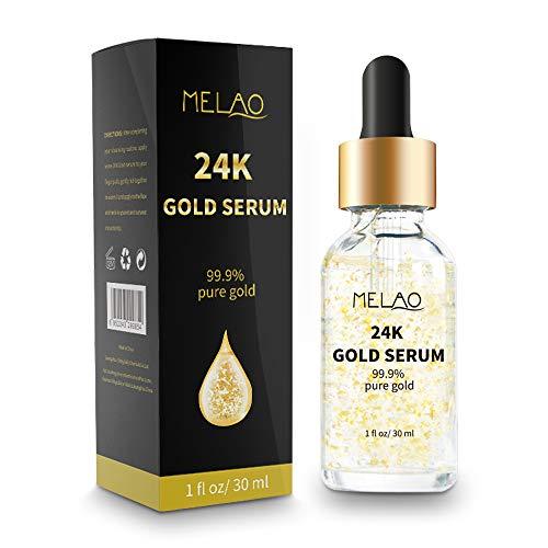 411KOkEqDxL - 24k Pure Gold Foil Essence Serum Anti-Wrinkle Anti-Aging Serums For Reducing Fine Lines Brightening Skin Tone Anti-Oxidant Nourishing Whitening Firming