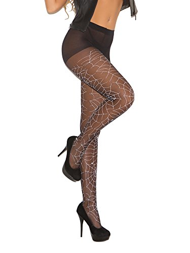 Elegant Moments Women's Glow In The Dark Sheer Spider Web Pantyhose, Black, One Size