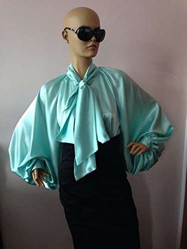 Formal Womens silk blouse/ Mint cocktail satin blouse/Satin Bow Blouse, Shirt