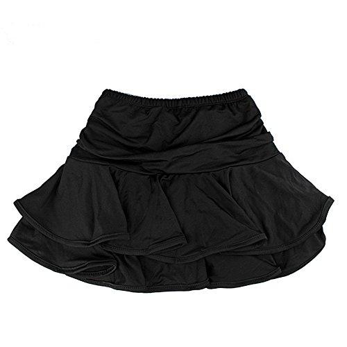 (TanQiang Little Girls Latin Dance Skirt Ballroom Samba Chacha Dancing Dress Inside with Shorts Kids Mini Skirt M (E))