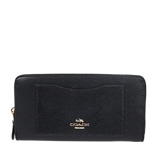 Purse Wallet Accordion (Coach Crossgrain Leather Accordion Zip Wallet F54007 (Black))
