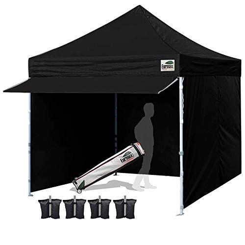 Eurmax 10 x 10 Pop up Canopy Commercial Tent Outdoor Party Shelter with 4 Removable Zippered Sidewalls and Roller Bag Bonus 4 Canopy Sand Bags 24 Squre Ft Extended Awning Black