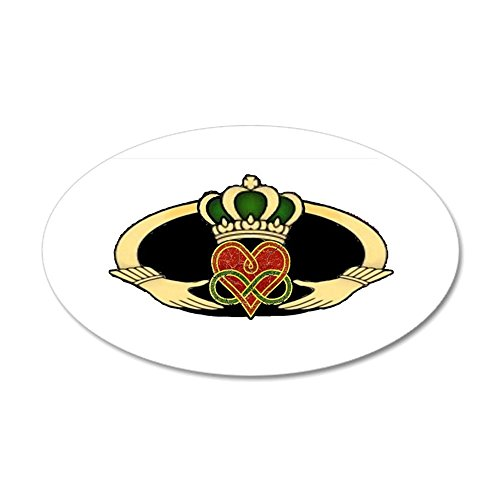 Claddagh Medallion - CafePress - Poly Claddagh Medallion - 35x21 Oval Wall Decal, Vinyl Wall Peel, Reusable Wall Cling