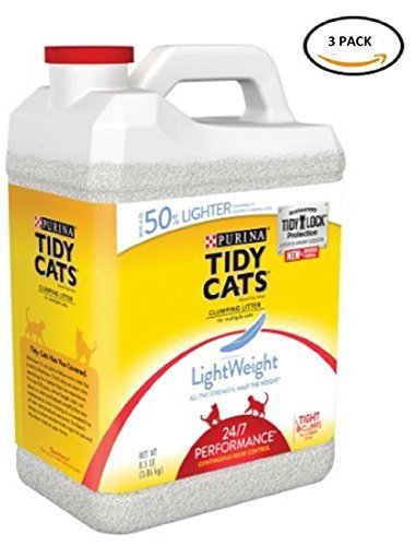 Purina Tidy Cats LightWeight Clumping Litter 24/7 Performance for Multiple Cats 8.5 lb. Jug- 3 Pack ()