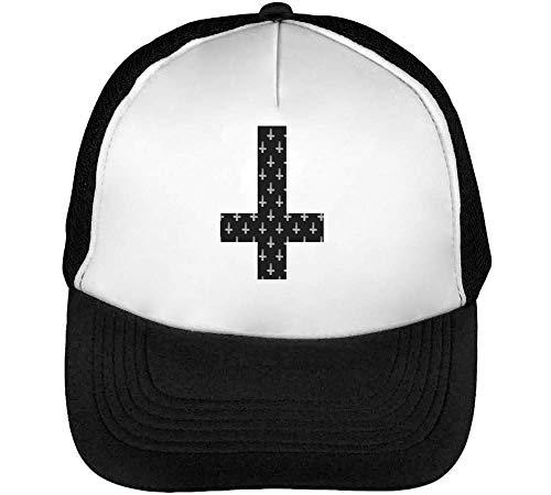 Beisbol Goth Hombre Snapback Designed Gorras Overturned Cross Blanco Negro YwnWvxW5