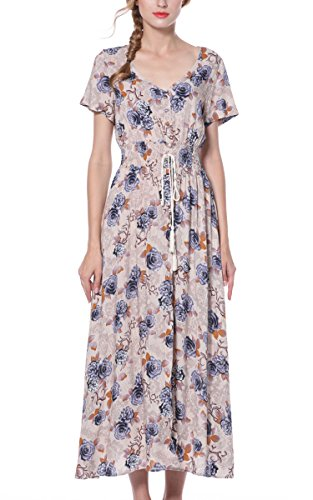 Long Floral Bohemian Brown Maxi Print Split Button Women's Dress ARANEE Boho up x7ITwYwq