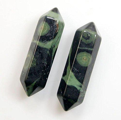 - jennysun2010 2 Pcs Natural Rhyolite Gemstone Hexagonal Pointed Reiki Chakra Raw Wand Pendant Beads Healing DIY Jewelry Crafts