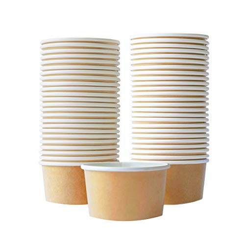 Paper Ice Cream Cups - 50-Count 5.5-Oz Disposable Dessert Bowls for Hot or Cold Food, 5.5-Ounce Party Supplies Treat Cups for Sundae, Frozen Yogurt, Soup, Brown