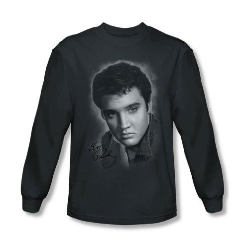 Classic Black T-shirt Elvis - Elvis Presley Men's Grey Portrait Classic T-shirt Large Charcoal