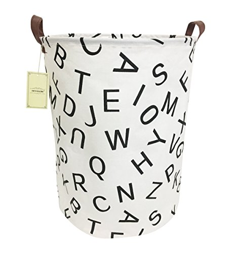 HIYAGON Large Sized Canvas Storage Baskets with Handle,Collapsible & Convenient Home Organizer Containers for Kids Toys,Baby Clothing(Letter)